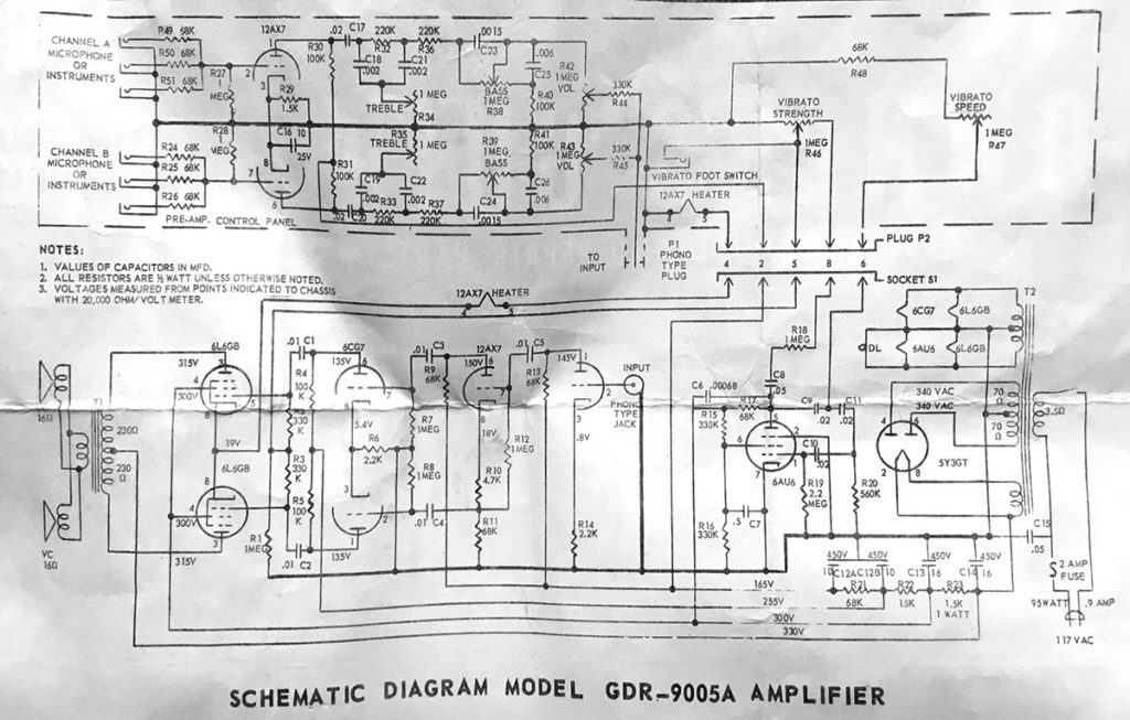 The Airline 9005 amplifier schematic